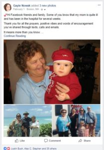 Facebook post from Gayle Nowak, The Story Stylist