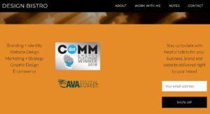 Design Bistro website footer displays award logos