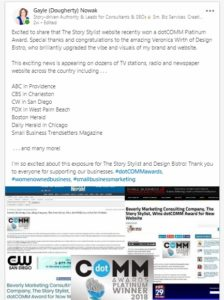 LinkedIn post announcing award and media coverage for The Story Stylist