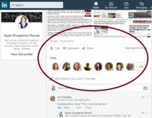 LinkedIn post highlighting engagement for award announcement for The Story Stylist