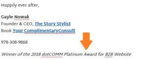 The Story Stylist email signature announcing award